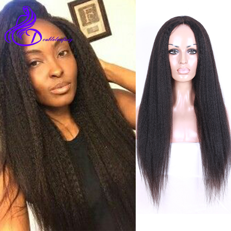 Brazilian Virgin Human Hair Glueless Lace Middle Part Front Wig Kinky Straight  Brazilian  Lace Front Wig For Black Women<br><br>Aliexpress