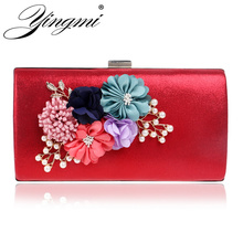 YINGMI women bag hot hand evening bags new the chain the Appliques pattern flowers wedding dinner bags day clutches bags()