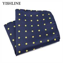 F220 Classic Men's Silk Handkerchief Hanky Woven Blue Yellow Polka Dot Floral Pocket Square 25*25cm Wedding Party Chest Towel(China)