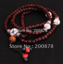 BRO953 Tibetan 108 beads Real Red Sandalwood Prayer Mala 6X5mm,naga conch shell Fine prayer beads rosary