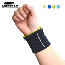 Queshark Double Lycra Reflective Wrist Support Badminton Sweatbands Running Cycling Fitness Zipper Pocket Sports Wristbands