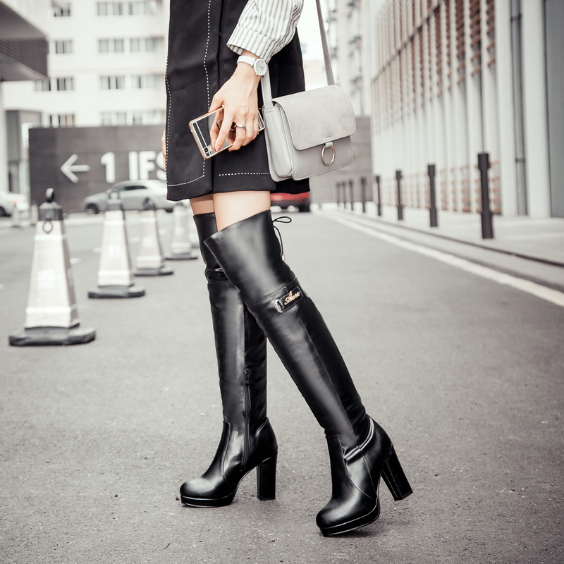Women knee high boots 2017 black heels soft leather thigh high boots for women female boots size 44 high heels sexy spring boots<br><br>Aliexpress