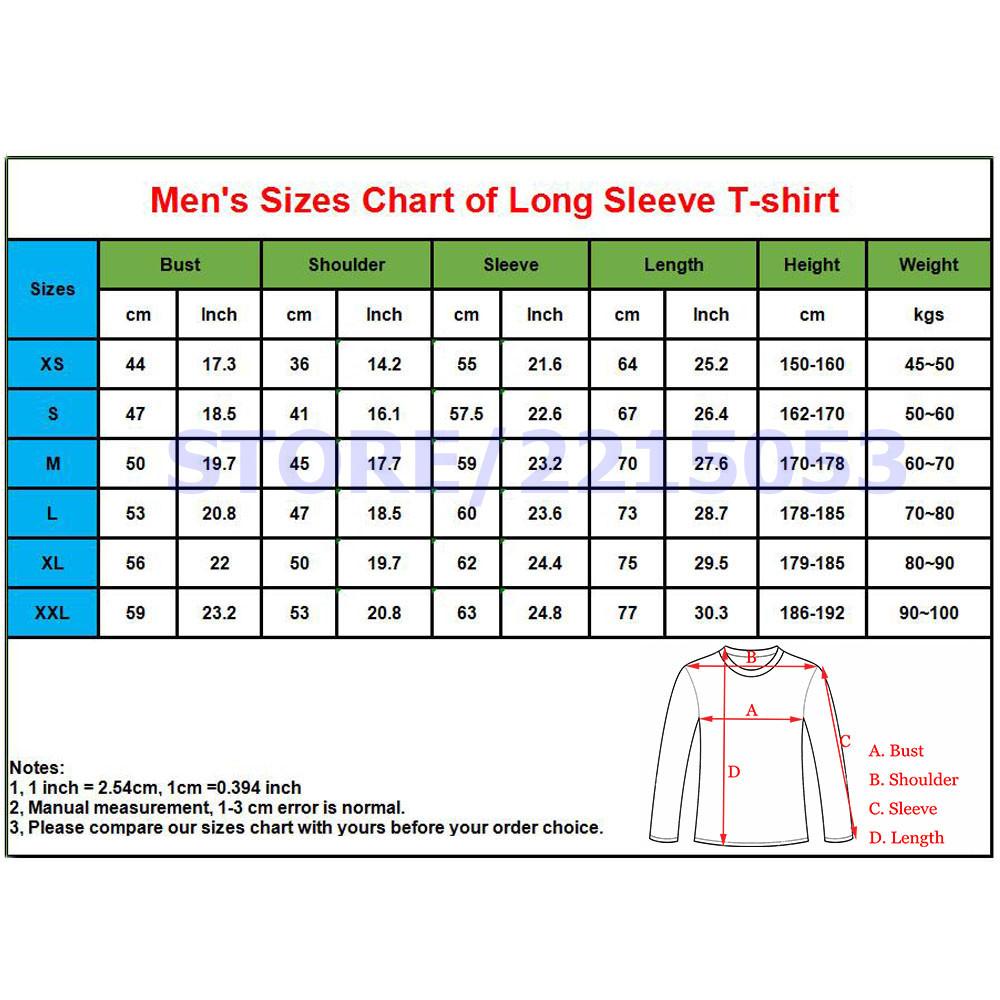 1mens size chart long sleeve