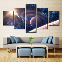 5 Pieces Saturn Satellite Sunshine Night Outer Space Sky Modern Home Wall Decor Canvas Picture Art HD Print Painting Canvas Art(China)