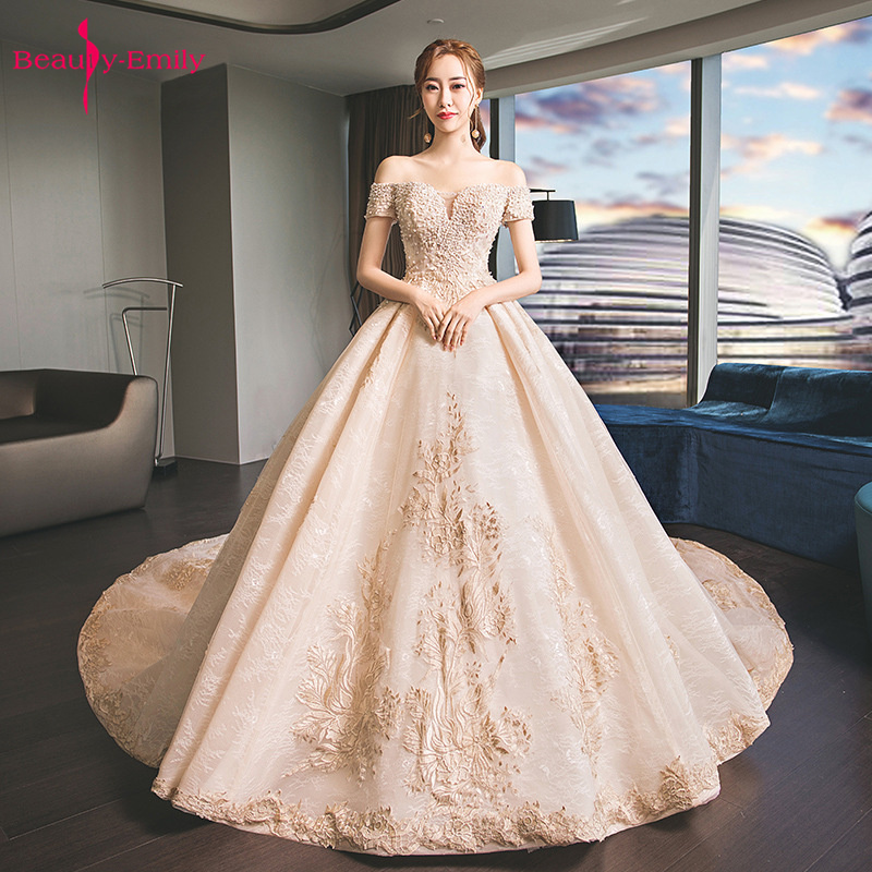 Long Off The Shoulder Sleeveless Wedding Dresses Royal Train Lace Appliques Beads Prom Gowns Open Back Princess Bridal Dresses