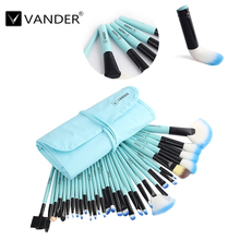 Soft Pro 32Pcs Vander Excellent Foundation Eyebrow Shadow Kabuki Makeup Beauty Cosmetic Brush Set Kit With Pouch Bag