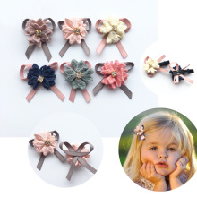 30Pcs/Lot Handmade embroided Flowers with Rhinestone for DIY Bebe Girl Hair accessories Hair Clips Headband Ornaments 3-4CM(China)
