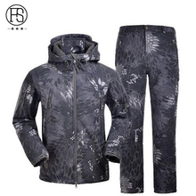 Military Tactical Men Outdoor Hunting Waterproof Camouflage Suits TAD Sharkskin Jacket And Pants Climbing Hiking Suits(China)