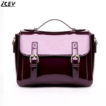 ICEV 2017 New Fashion Women Satchels Patent Leather Clutch Designer Cross body Bag Ladies Briefcase High Quality Messenger Bolso
