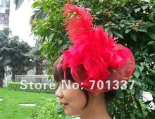 wholesale Free Shipping costume party fascinator red  dances,races,weddings,Party HAT H112
