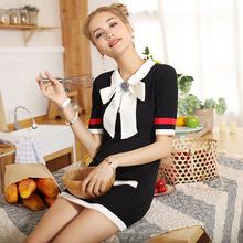 Female 2017 summer Mini dress new polo collar Half-point sleeve a step skirt  Girls Diamond bow skirt Close knit stretch skirt