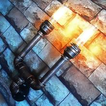 Loft double slider wall lamp vintage decoration iron water pipe wall lamp edison lamp bulb American industral wall lamp