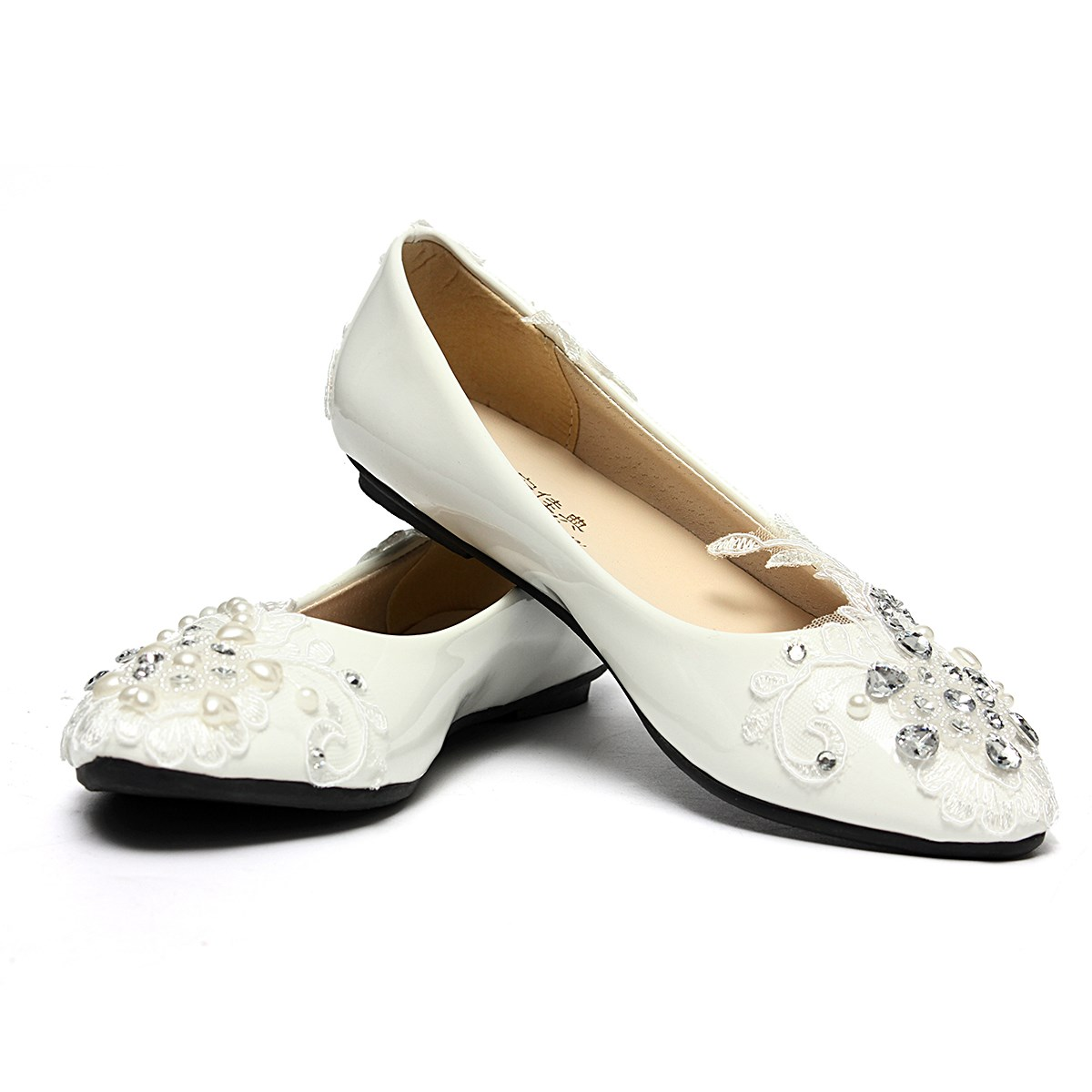 Bridal Loafers Party Dress Handmade New Women Wedding Shoes Rhinestone Slip On Flat Heel Flower Lace Crystal Ladies Flats<br><br>Aliexpress