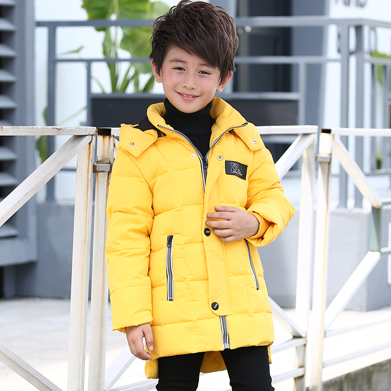 Mioigee Children Down &amp; Parkas Boys Down Jacket Cotton Padded  Section Winter Jacket Hooded Warm Boy Outerwear Coat <br>