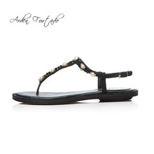 Arden Furtado 2018 summer Pearl flip-flops flat black green sheep skin  black suede casual fashion sandals shoes for woman ladies 24c8d94a7d64