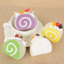 Yummy Fruit Cream Roll Cake Squishy Bread Slow Rising Bag Phone Strap Cake Roll Soft Key Chains Bread Scented Charm Kids Toys