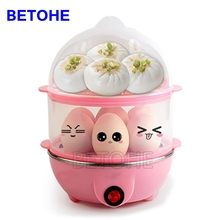 BETOHE 220V Double Layer Electric Egg Boiler Egg Cooker Steamer Pan Kitchen Cooking Tools Utensil 350W