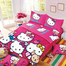 Home Textile 3/4pcs Rose Red Hello Kitty Cartoon Bedding Set Twin Full Queen Size Bedcover Comforter/quilt/ Bedsheet Pillowcase