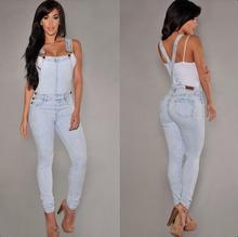 2017 Female hole in denim overalls condole conjoined pair of jeans Jumpsuits