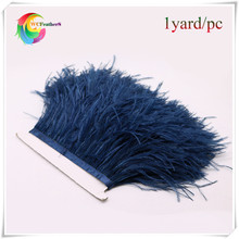 factory price 1yard long dyed navy real ostrich feather trims fringe with ratin ribbon real ostrich feather trimming(China)