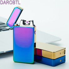 Free shipping USB charging pulse lighters personality design electronic cigarette lighter windproof Cross double arc lighters