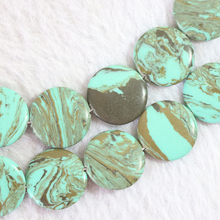4 shape green brown stripes synthetic calaite turquoises stone oval heart coin square shape diy jewelry loose beads 15inch B766(China)
