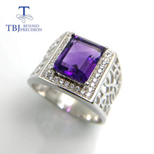 Tbj ,natural amethyst  women ring,simple design ring,good luster tztopaz ring in 925 silver gemstone jewelry