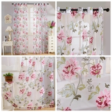 New Europe Style Big Pink Peony Flower Printing Voile Curtain Slim Semi-Shade Tulle Bedroom Living Room Window Hot sale-A968