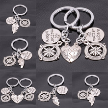 No Matter Where Heart Mother Daughter Best Friends BFF Compass Pendant Keyrings Mom Girls Gifts Friendship Key Chains Keyfob Bag