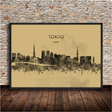 TOKYO Japan Abstract Watercolor City Building Krafts Paper Poster Living Room Wall Stickers Bar Cafe Bedroom House Decor 42x30cm(China)