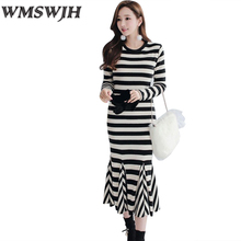2017 New Autumn Women Dress Active Girl's Long Dresses O-Neck Stylish Striped Vestidos Ruffles Bodycon Fishtail Dresses WJH179(China)