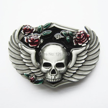 Distribute Belt Buckle Flower Skull Belt Buckle Free Shipping 6pcs Per Lot Mix Style is Ok(China)
