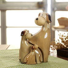 Creative Home Furnishing animal decoration ornaments dog ceramic crafts home decor figurines miniatures(China)