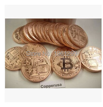 Bitcoin Gold Plated Pure Copper Coin New Arrival Commemorative Gold Purple Bronze Carved For Gift collect Promtion IN Stock(China)