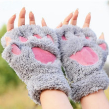 Fluffy Bear/Cat Plush Paw/Claw Kawaii Soft Toweling Lady's Fingerless Femal Gloves Mittens for Girls Half Finger(China)