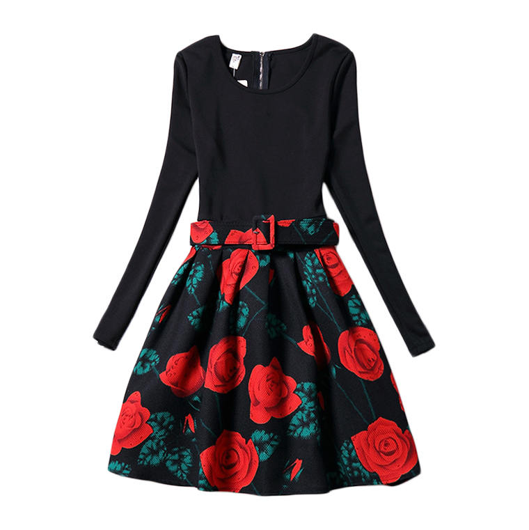 Rose Floral Print Dress Girls Long Sleeve Black Party Dresses 2017 New European American Style Teenage Frocks 6-20 Yrs GD100<br><br>Aliexpress