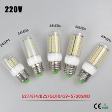 1Pcs E27 E14 G9 B22 GU10 220V LED lamp 5730 SMD 24 36 48 56 69 LEDs Corn light Bulb Spot light Chandelier lighting