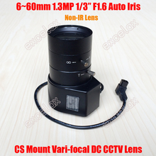 "1.3MP 1/3"" 6-60mm F1.6 CS Mount DC Auto Iris Varifocal CCTV Lens for 720P 1MP 960P 1.3 Megapixel Analog IP Box Body Camera(China)"