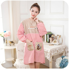 1pc Winter Thicker Cotton Long-sleeved Plaid Antifouling Kitchen Aprons With Sleeves Cover Sexy Adult Aprons