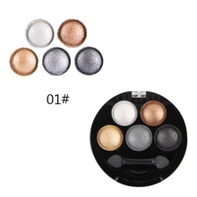 5 Colors Pigment Eyeshadow Palette Metallic Shimmer Makeup Beauty Make Up Warm Color Waterproof Eye Shadow Powder(China)