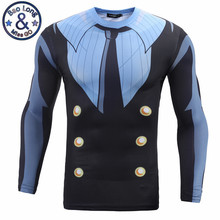 Hot Sale Mens Clothing 3D Printed T shirt Anime ONE PIECE Character Sanji Funny Long Sleeve Tight Tee Shirt Tops Costume T-shirt