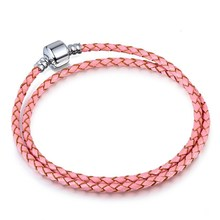 Double Circle Women Silver Plated Beads Charms Clasp Genuine Leather Fit Women Pandora Bracelet Bangle Jewelry
