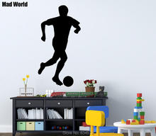 Mad World-Football Soccer Player boys Sports Wall Art Stickers Wall Decal Home DIY Decoration Removable Room Decor Wall Stickers