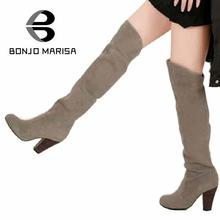 BONJOMARISA Big Size Fashion Over Knee Thigh High Boots Women Dress Casual Shoes Sexy Motorcycle Boots Winter Shoes Women XB135