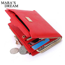 Mara's Dream Designer Slim Women Wallet Thin Zipper Ladies PU Leather Coin Purses Female Purse Mini Clutch Cheap Womens Wallets