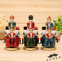 Traditional Germany Wooden Nutcracker Doll toy clockwork Music Box toys for shop decoration(China)