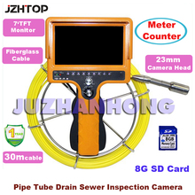 Portable Video Endoscope Pipeline Cavity Wall Well Inspection Camera With Monitor 30Meter Cable 8GB SD Card Meter Counter(China)