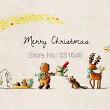 Merry Christmas Diy Handmade 100% Hand Dyed Linen Fabric Painting For Bag Sewing Craft Cotton Patchwork Fabric 20*30cm
