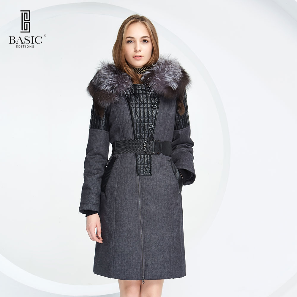 BASIC-EDITIONS 2016 Winter Fashion Classic Womens Clothing Oversized Fur Collar Long Parkas Women Coat  D13009 Free ShippingОдежда и ак�е��уары<br><br><br>Aliexpress