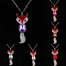 European And American Fashion And Lovely New Unique Temperament Elegant Necklace Multicolor Fox Sweater Chain Necklace
